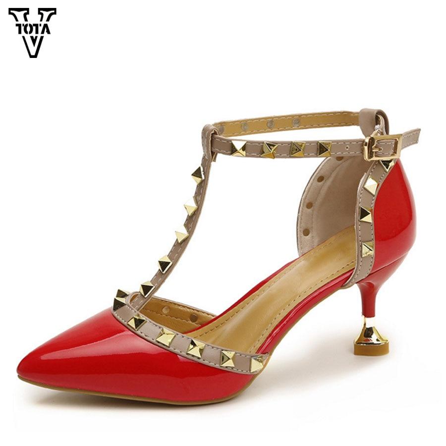 Rivets Hauts rouge À Bout rose blanc Bride Pointu Noir Sandales Chaussures La Fc Mince Pompes Femmes Cheville Vtota Mode Sexy Talon Talons 0qR6ptA