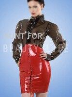Long Sleeve Latex Dress Corset Style Tight W Shirt Collar High Qulity Elegant Suit W Snap