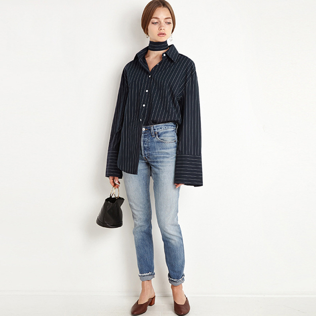 f5d826356d6a Fashion Casual Womens Tops And Blouses Oversized Striped Shirt New Arrival  Blusas Y Camisas Mujer Blusen European Style Vogue