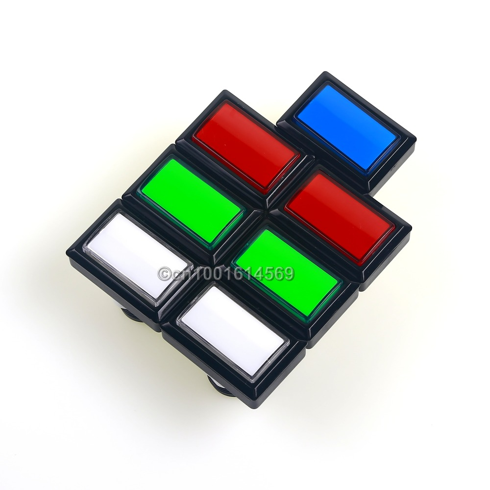 Arcade DIY Kits Parts 5V 7pcs 50*33mm LED Illuminated Arcade Push Button For MAME Multicade Raspberry PI 2 Retropie Project Game