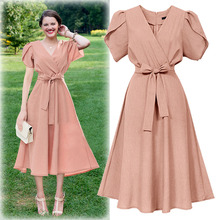 2019 summer dress women clothes vintage elegant sexy tie bow solid color short-sleeved