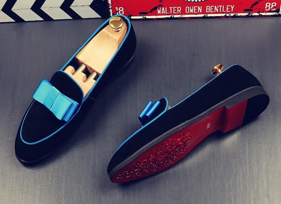 2018 Summer Designer Lovely Bowknot Men Velvet Loafers Gentel Slippers Shoes Luxury Ballerina Flats Elegant Mocassins Homens in Men 39 s Casual Shoes from Shoes