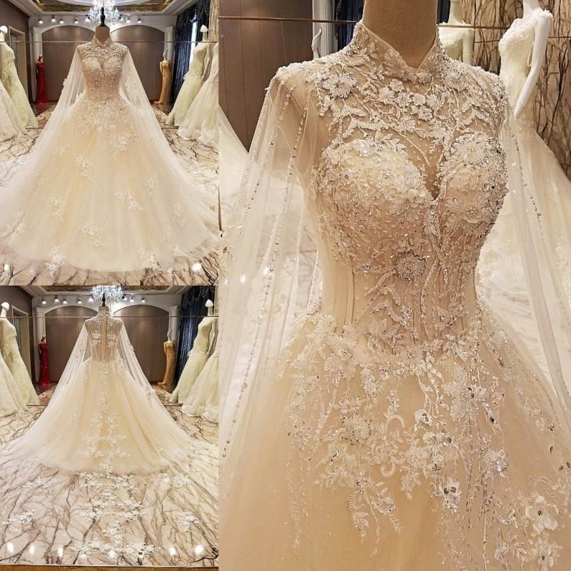 LS89036 Elegant Lace Wedding Dress Ball Gown Crystal Gowns With Long Tail Robe De Mariage 2017 Real Photos In Dresses From Weddings Events