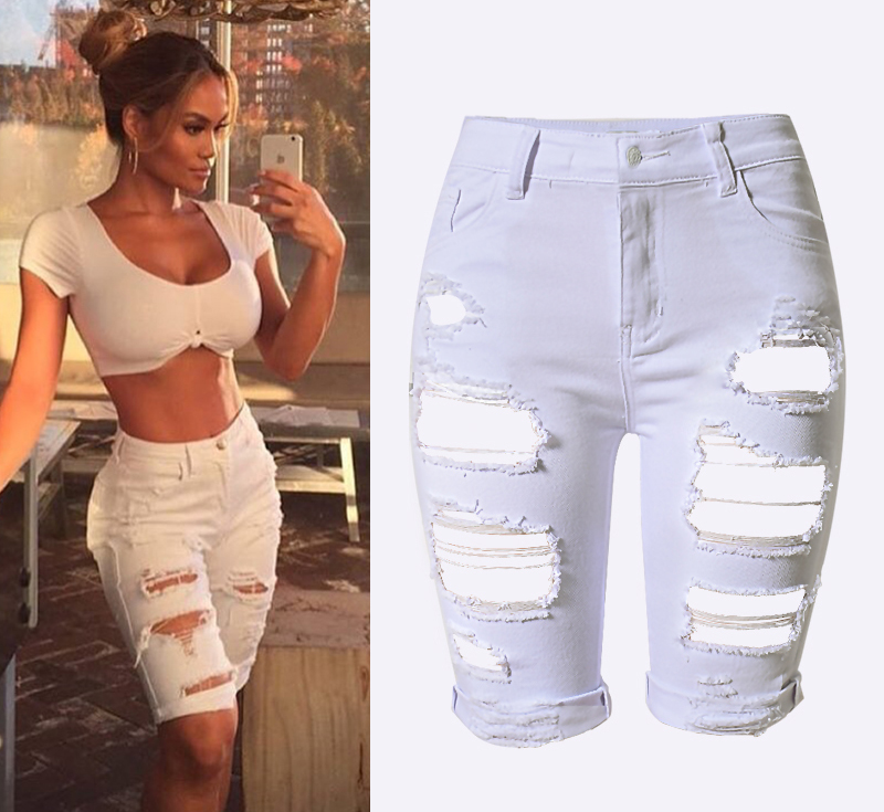buy 2016 summer white denim destroyed bermuda shorts women ripped hole plus. Black Bedroom Furniture Sets. Home Design Ideas