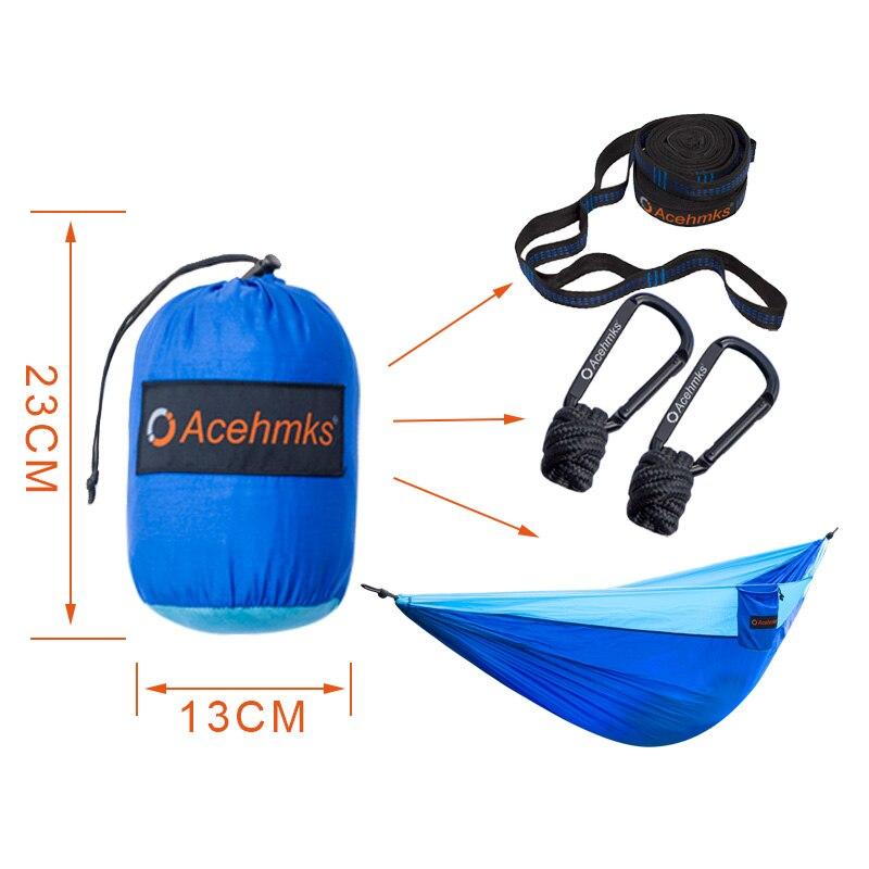 Acehmks Hammock Portable Folding Ultralight Parachute Nylon Camping Hammock Garden Swing Multi Color With 2 Tree Straps Double - 2