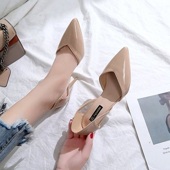2019 HOT sale fashion Women Shoes Pointed Toe Pumps PU Leather Dress High Heels Shoes Wedding Shoes women Zapatos Mujer **459 1