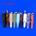 musiling Jewelry Natural Stone Bullet Reiki Pendulum Pendants Charms Healing Chakra Amulet Jewelry Men Boys love gifts 10Pcs