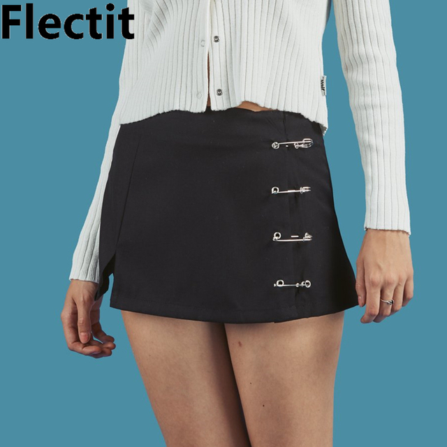 f9cf3f407fcde US $16.5 32% OFF|Flectit Metal Safety Pin A Line Mini Skirt with Side Split  High Waisted Unif Collins Skirt Harajuku Streetwear-in Skirts from Women's  ...