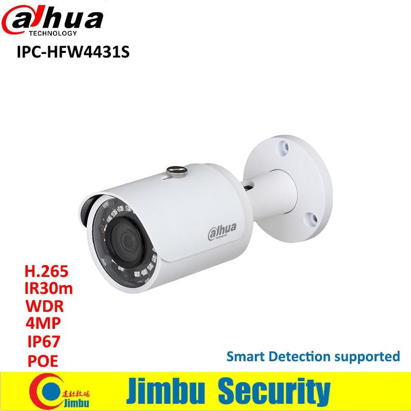Dahua Smart Detection 4MP IP camera IPC-HFW4431S Full HD WDR Network Small IR Bullet Camera IP67 POE IP Camera English Version цена