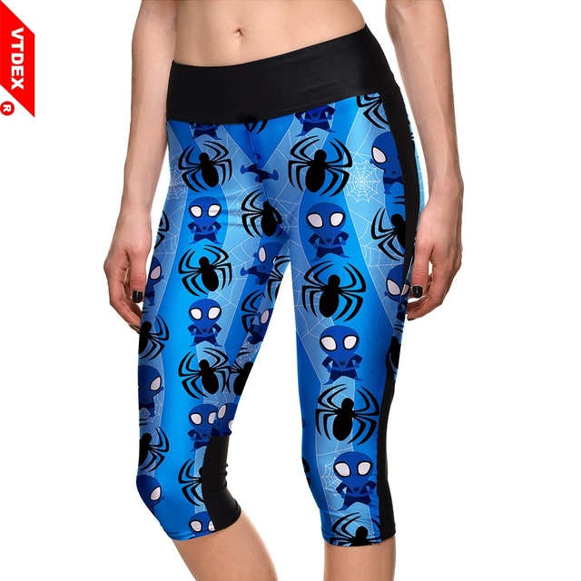 af032ba28e985 Blue Skinny Leggings Capris Women Funny Spider-Man Pattern Tights Running  3 4 Fitness Yoga Pants GYM Exercise Sports Trousers
