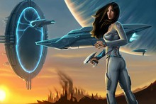 fantasy artwork futuristic science fiction Portal women games spaceship AT077 Room home wall modern art decor diy frame poster