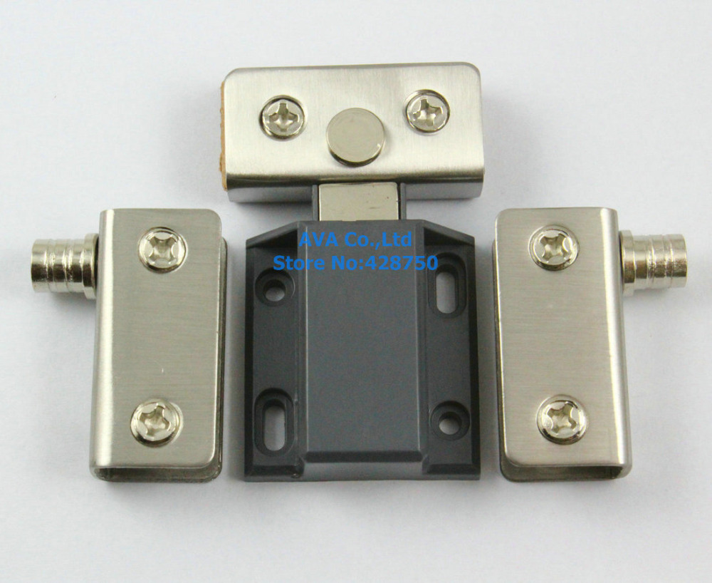 2 x Press Open Single Glass Door Pivot Hinge Set Clamp Clip Magnetic Catch Latch 4sets stainless steel clamp double door set glass door pivot hinge set for 5 8mm thickness glass jf1274