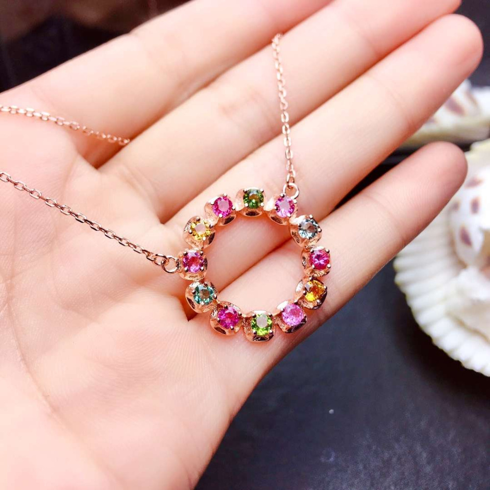 Natural Multicolor tourmaline Necklace Natural gemstone Pendant Necklace S925 sliver Elegant lovely circle Girl gift JewelryNatural Multicolor tourmaline Necklace Natural gemstone Pendant Necklace S925 sliver Elegant lovely circle Girl gift Jewelry