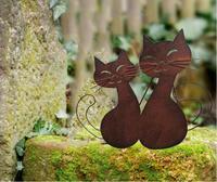 35*30cm  ornamentos de jardim do vintage de ferro forjado estilo europeu ferrugem retro dois ornamentos gatinho