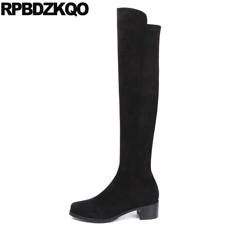 Suede Slim Round Toe Brand Knee High Long Thigh Women Boots Black Shoes Over The Sexy Stretch New Chunky Ladies Female Fashion