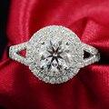 Luxo 18 K Real White Gold Certified 0.5 Carat F cor Para Sempre Um Diamante Moissanite Anéis de Noivado de Halo Para As Mulheres casamento