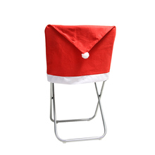1PCS Cute Santa Claus Cap Chair Cover Christmas Dinner Table Party Red Hat Back Covers