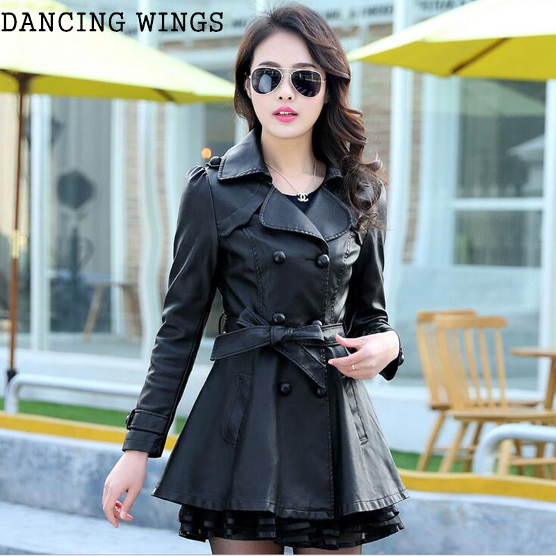 Spring Autumn Plus Size   Leather   Jacket Double Breasted Long Sleeve Women Elegant Slim PU   Leather   Trench Coat Outwear