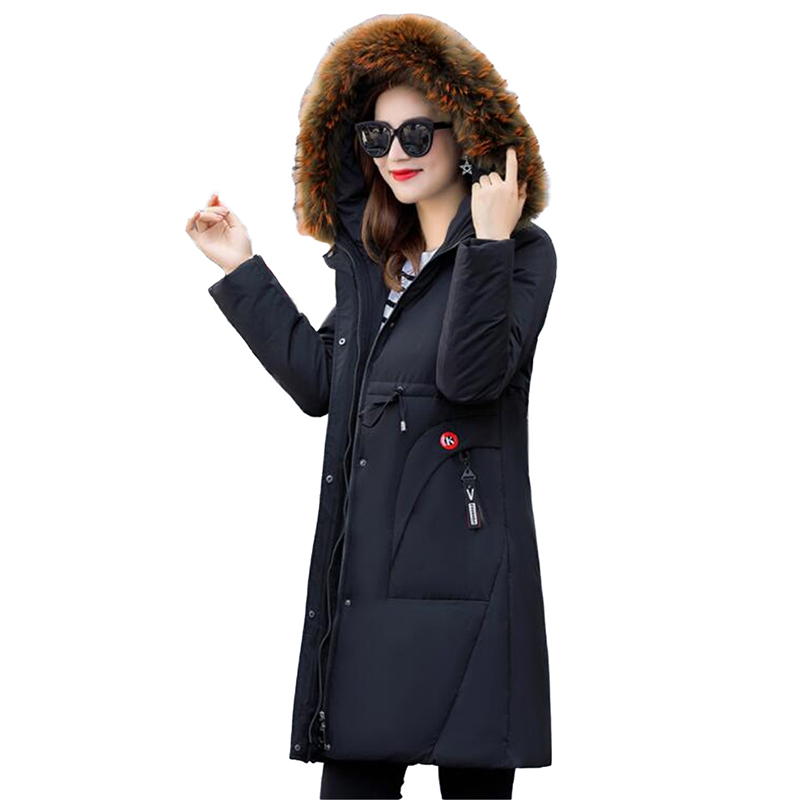 New Winter   Down   jacket for Womens Parkas 2018 Thicken Warm Long   Coat   Plus size 4XL Fur collar Hooded White Duck   down     Coats   N246