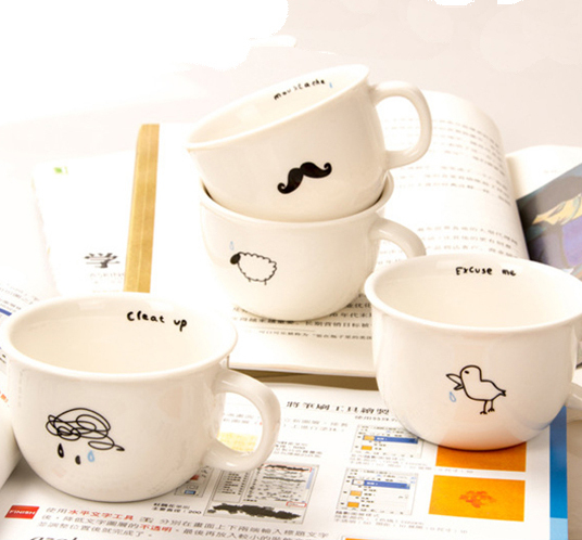 Mustache / Cloud / Bird / Sheep Marks Mug,Cute Minimalist ...