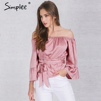 Simplee Apparel Sexy Off Shoulder Ruffle Bow Blouse Shirt Soft Satin Flare Sleeve Summer Tops Elegant