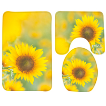 3pcs Bath Mat Set Yellow Sun Flowers Pattern Bathroom Rug Anti Slip Shower  Mat And Toilet Mat Sets Bathroom Products