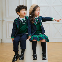 Kindergarten autumn boys and girls school uniforms set England College class service autumn and winter pupils suit three piece
