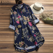 ZANZEA 2019 Women Summer Blouse Floral Long Sleeve Mandarin Collar Pockets Blusas Casual Loose Shirt Mini Robe Tops Plus Size