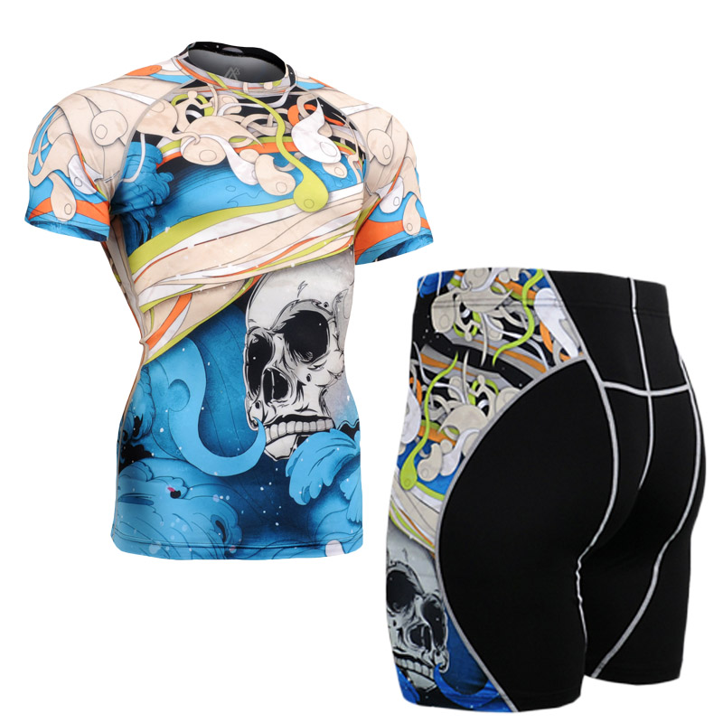 Mens Compression Sets 3D Prints Short Sleeve MMA Rashguard Tops Short Bottoms Pants Crossfit Base Layer