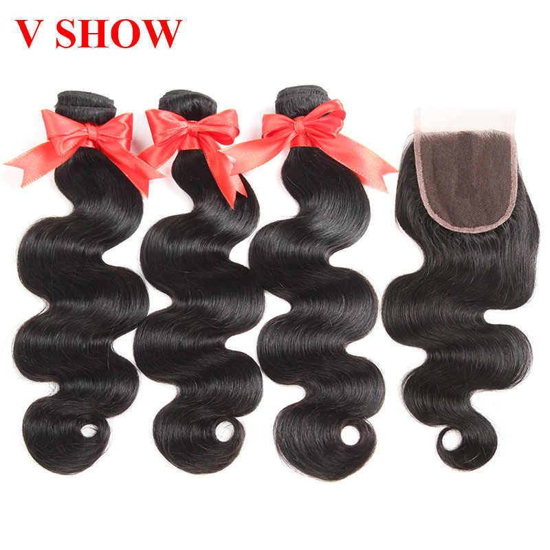 Human Hair Bundles Med Closure 3 Bundles Peruvian Body Wave Hair - Menneskehår (sort)