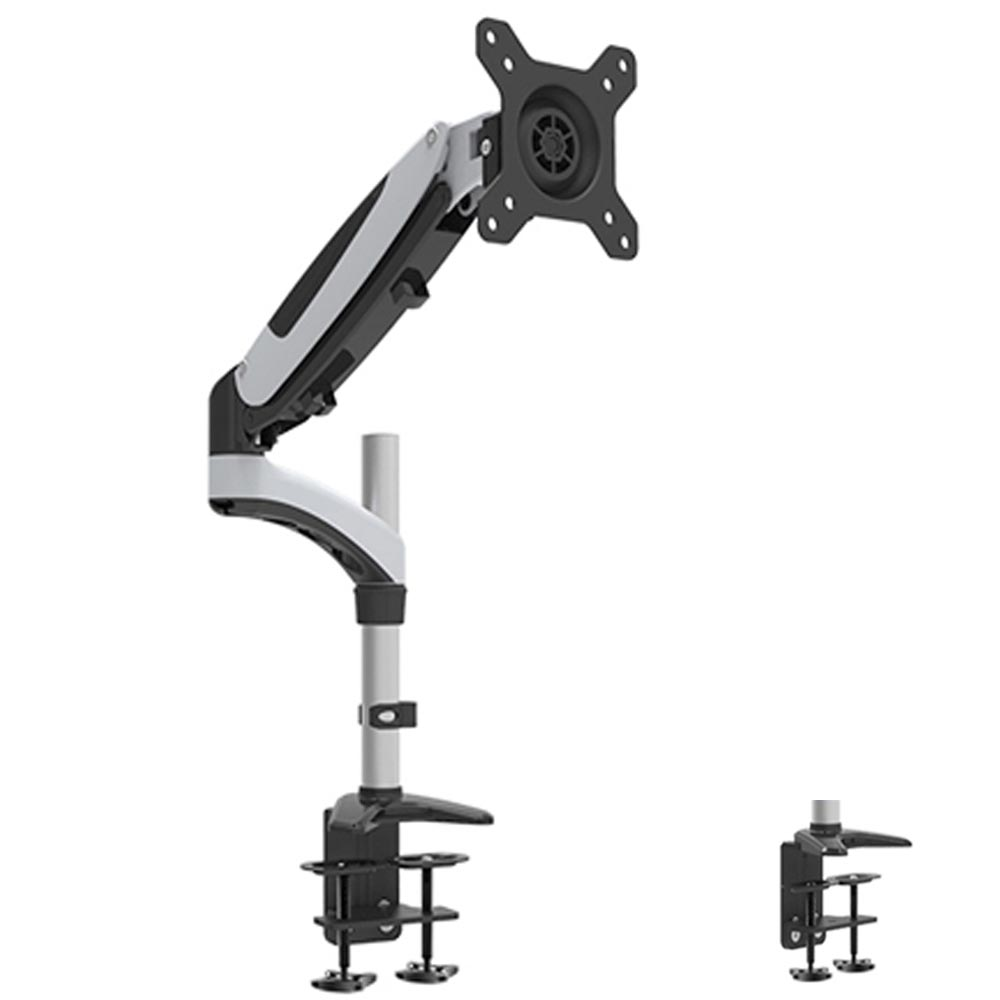 HONGHUA 180 Degree 15 27 Gas Spring Monitor White Holder Desk Clamping Computer Monitor Arm with Speaker