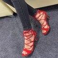 Краткий Черный Играть Шпильках Ежедневно Обувь Из Натуральной Кожи Женщины Великолепная Шпильках Открытым Носком Крест Ремень Обуви Женщина Насосы