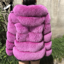 MAOMAO FUR M Real Fox Fur Coat Full Pelt Thicken Warm Winter Jacket Hooded Fox Fur
