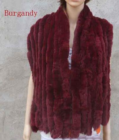 Натуральный вязаный шарф из кроличьего меха Рекс, женская зимняя теплая шаль из натурального меха,, KFP574 - Цвет: Burgandy