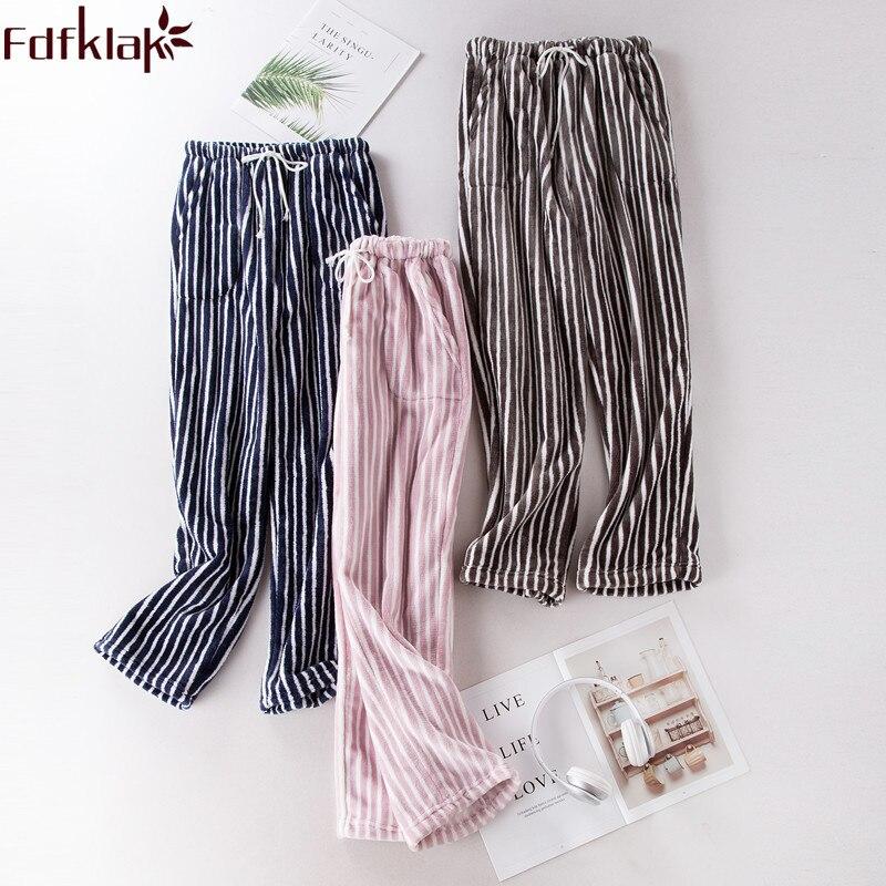 Fdfklak New Products 2018 Couple Flannel Pyjama Pants Women's Pajamas With Pants Women Bottoms Lounge Pants Sleeping Clothes