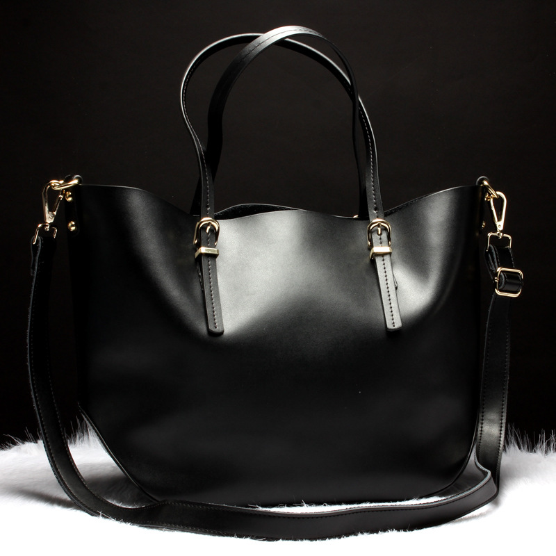 100% Genuine Leather Women Bag Portable Shoulder Bags Ladies Large Capacity Casual Tote Bag Simple Female Dress Handbags Black fashion women genuine leather handbags large capacity tote bag oil wax leather shoulder bag crossbody bags for women