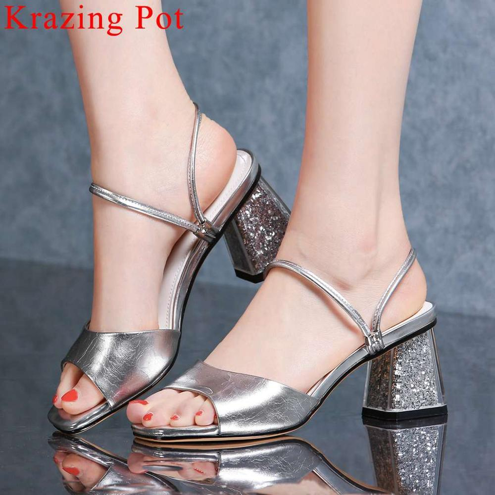 Krazing Pot high quality high heels slip on women sandals office lady original designer square peep toe simple party shoes L15Krazing Pot high quality high heels slip on women sandals office lady original designer square peep toe simple party shoes L15