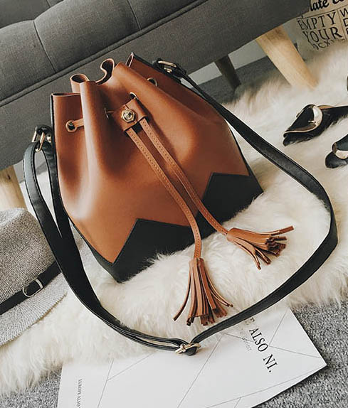 Panelled Tassel ladies drawstring bucket Women bags artificial leather fringe bag small shoulder bags women tote