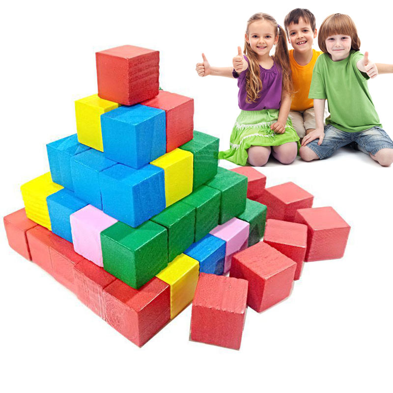 Hot Selling 2cm 20pcs Children Kids Wooden Building Blocks Square Math Teaching Tool Toy Colorful 775-in Blocks from Toys & Hobbies