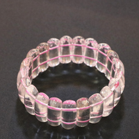 Charms Natural Pink Crystal Stone Hibiscus Bracelets For Women Geometry 10x19mm Beads Manual Bangle Lovely Jewelry 7.5ich B3272
