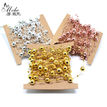 5 Meters Fishing Line Artificial Pearls Beads Chain Garland Flowers Wedding Party Decoration Products Supply multicolor