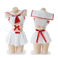 Japanese School Girls Cosplay Sailor Suit Super Cute Cat Girl Camisole Set Uniform Sexy Women's Tops Cat Ears Tail Panties Set