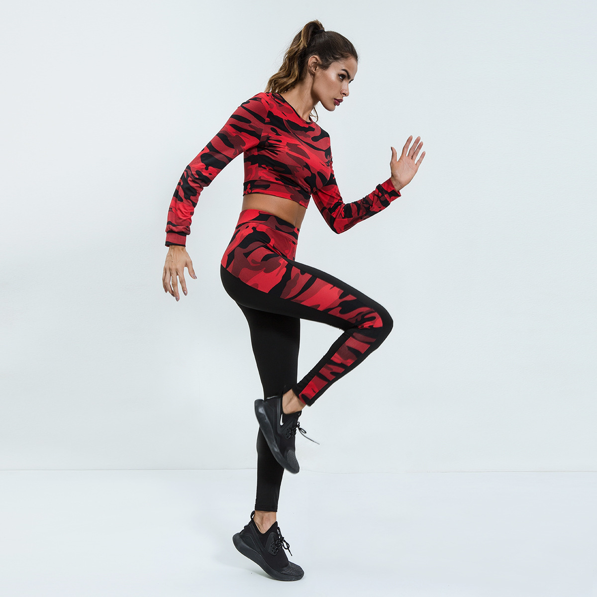 Ms Ragdoll Jogging Suits For Women Sportswear 2 Piece Yoga Set Camouflage Print Gym Clothing Fitness Sport Suit in Yoga Sets from Sports Entertainment
