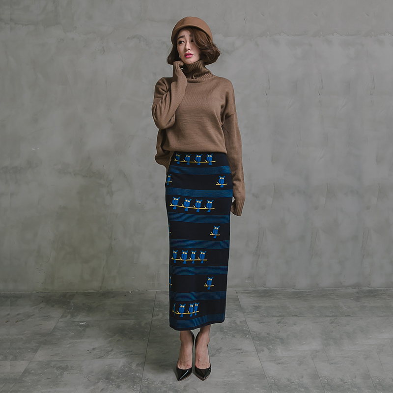 จัดส่งฟรี2018ใหม่ทำด้วยผ้าขนสัตว์ถักยาวMaxiกระโปรงเอวสูงตรงยืดหยุ่นการ์ตูนวินเทจS XLฤดูหนาวกระโปรงสำหรับผู้หญิง-ใน กระโปรง จาก เสื้อผ้าสตรี บน   1