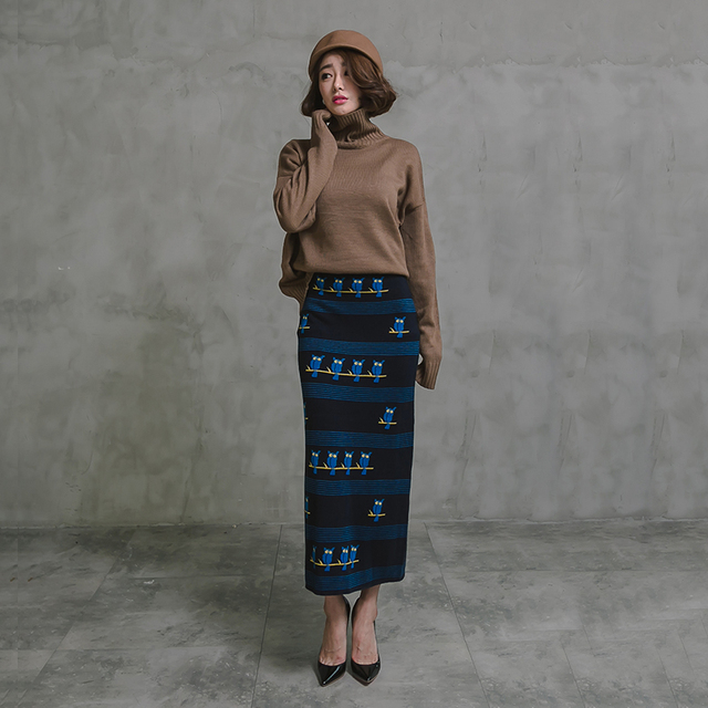 707a5c0051f Free Shipping 2018 New Woolen Knitted Long Maxi Skirt High Waist Straight  Elastic Cartoon Vintage S