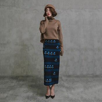 Free Shipping 2020 New Woolen Knitted Long Maxi Skirt High Waist Straight Elastic Cartoon Vintage S-XL Winter Skirts For Women han edition of new winter skirts long elastic waist side split knitted dress