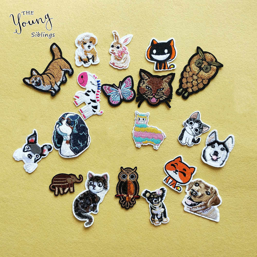 New Embroidery cartoon animal cat dog butterfly hot melt adhesive patches iron for clothes Stickers badge DIY Apparel accessory