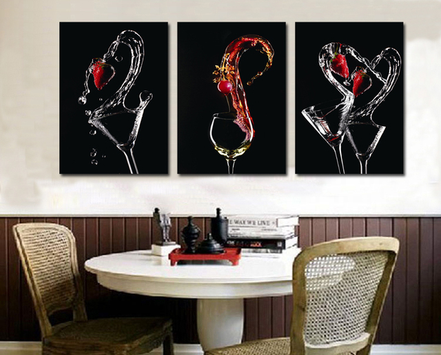 3 Panels New Wine Glasses Print Pictures For Kitchen Decor HD Canvas ...
