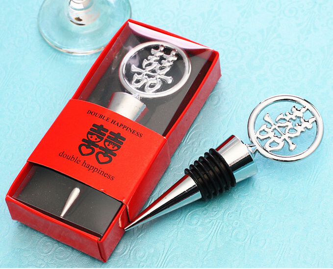 FREE SHIPPING by DHL,FEDEX,UPS(50pcsLot)+Double Happiness Elegant Chrome Bottle Stopper in Traditional, Asian-Themed Gift Box