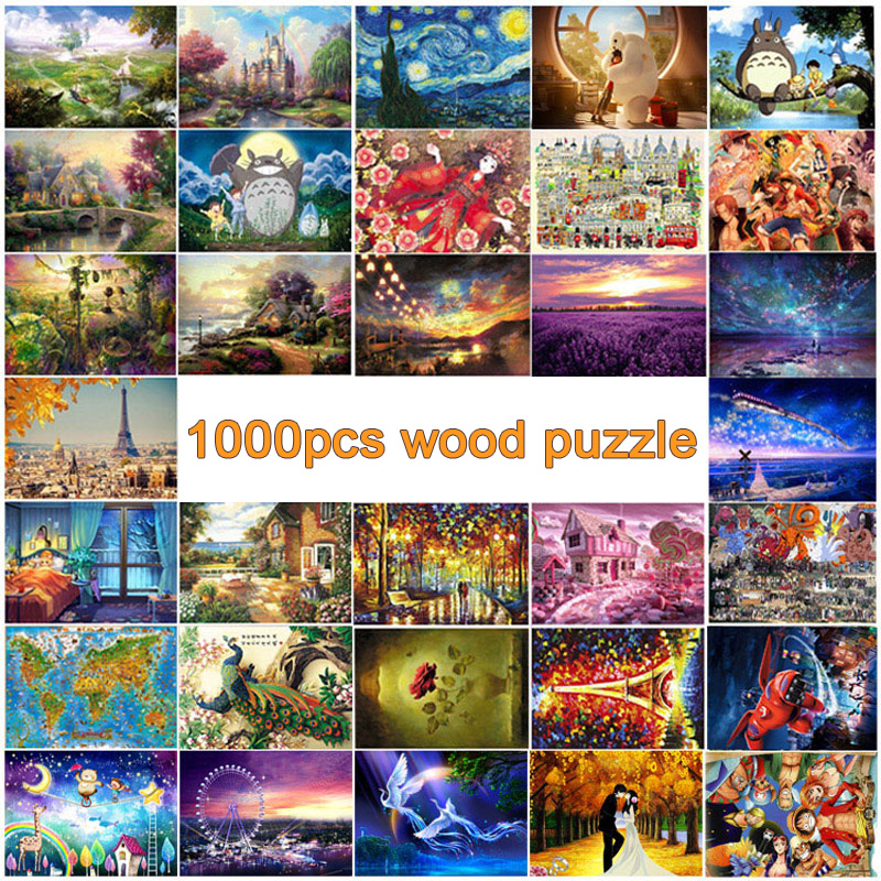 1000pcs wooden <font><b>puzzles</b></font> for adult DIY wood jigsaw <font><b>puzzle</b></font> educational 3D <font><b>puzzle</b></font> toys for child kid gift